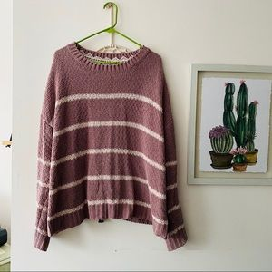 Pink & White Striped Chenille Sweater